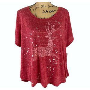 Style & Co Women's Short Sleeve Joy Reindeer